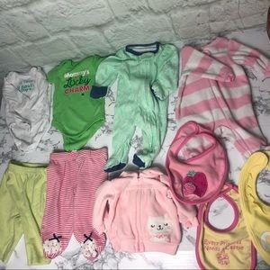 10 pc Newborn- 3 months bundle lot clothes & bins